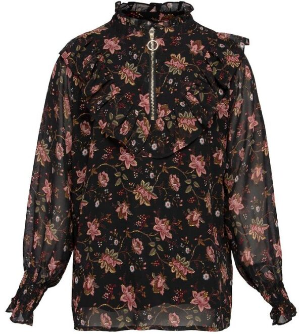 Petit by Sofie Schnoor Bluse - Emilie - Sort m. Blomster