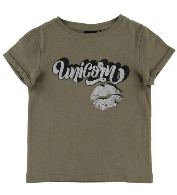 Petit by Sofie Schnoor T-shirt - Liva - Armygrøn m. Unicorn